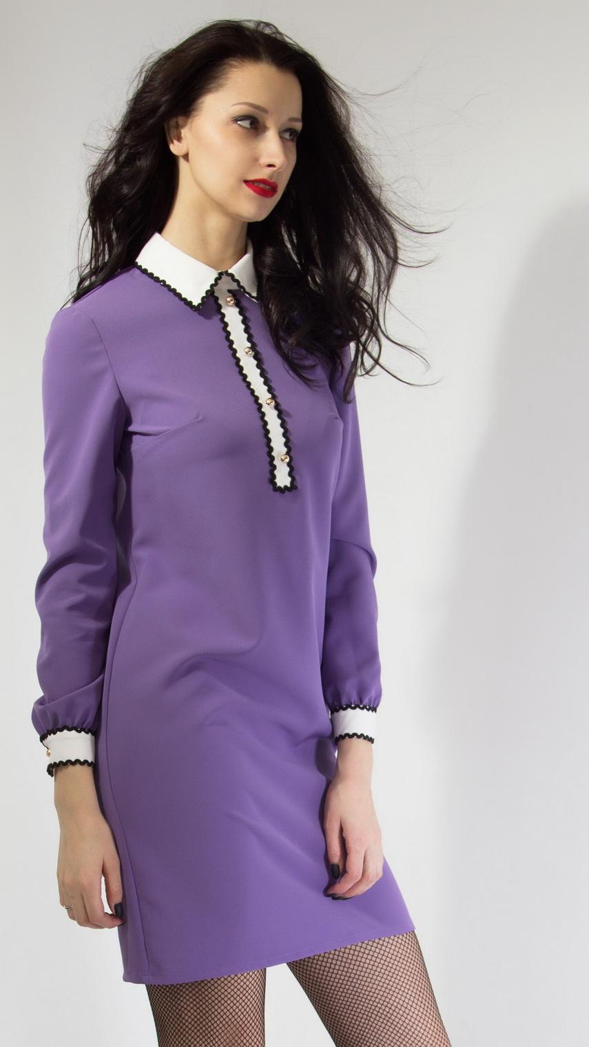 5b295a5692c Платье с рубашечным воротником лавандового цвета