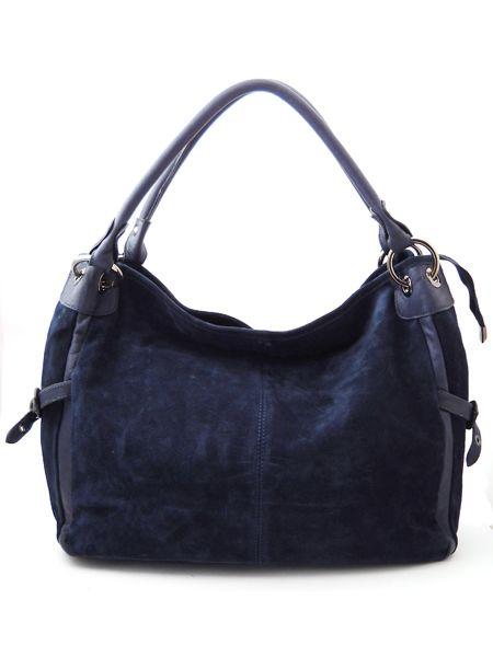 Темно-синяя замшевая сумка.