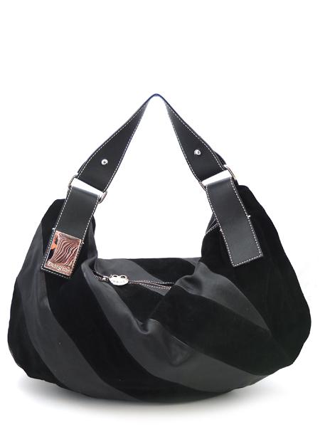 Черная сумка в диагональную полоску итальянской марки BURGLAR.