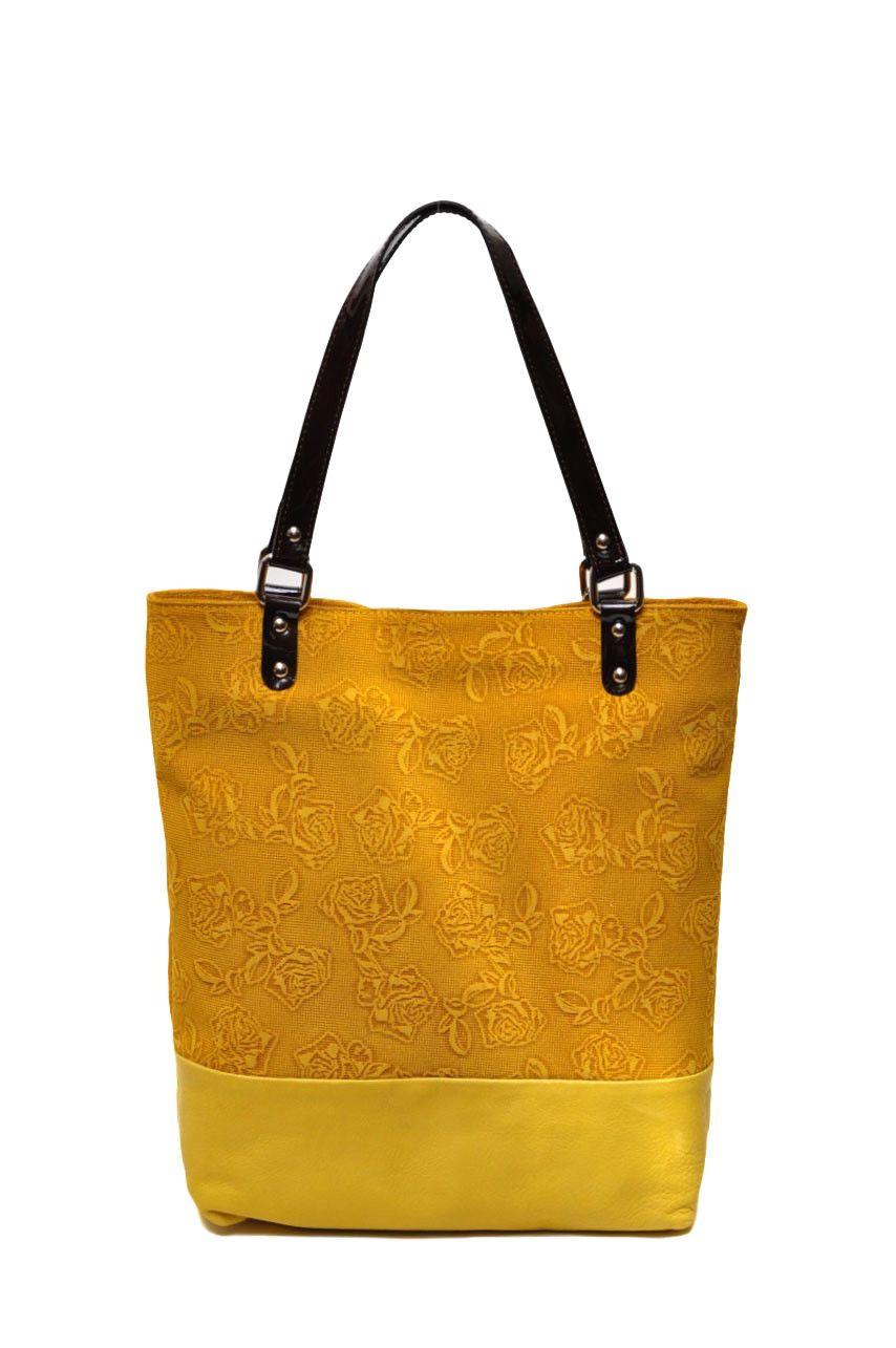 """Желтая сумочка Giglio Fiorentino из натуральной кожи  """"Sauvage Stampato """" ."""