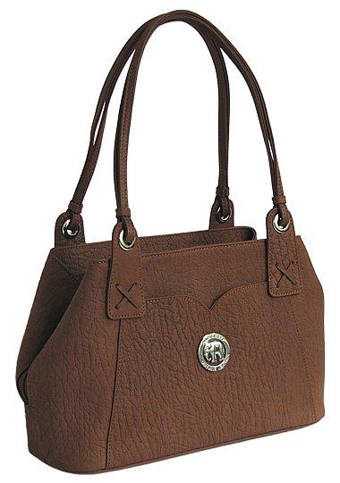 Женская кожаная сумка с тиснением под кожу слона 1-023.