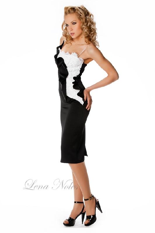 Черно белое коктейльное платье alibaba