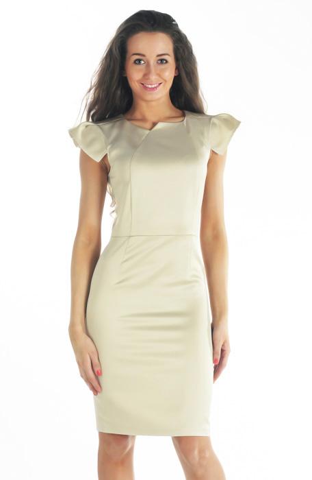 Элегантное офисное платье-футляр, выполненное из атласной ткани...