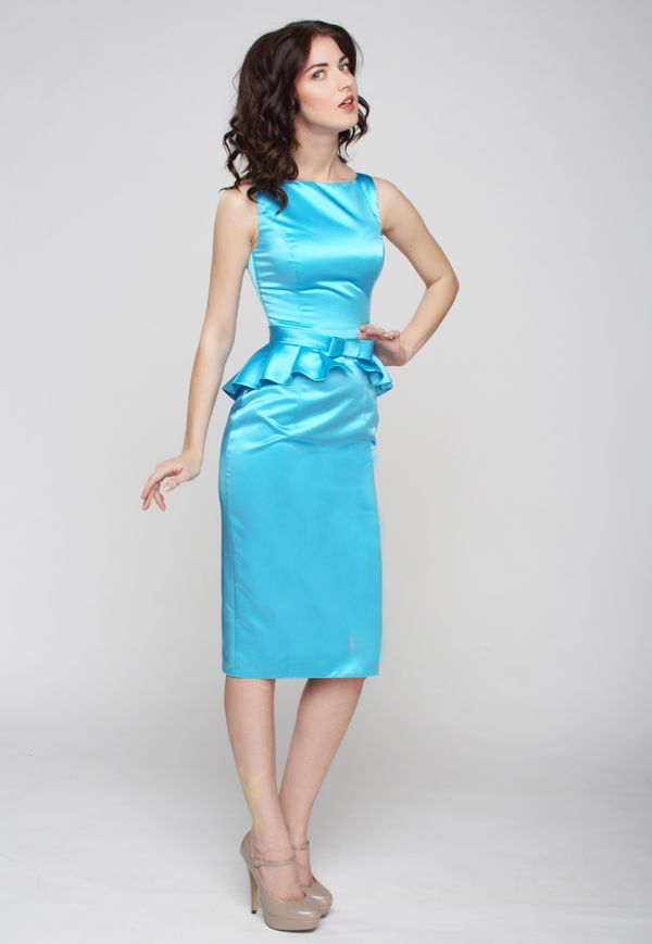 Платье с баской из атласа
