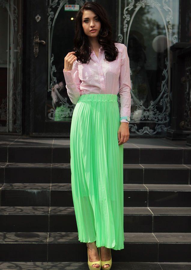 Длинная юбка-гофре зеленого оттенка