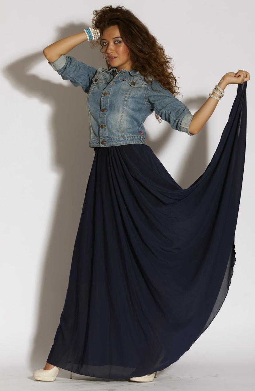 Купить длинную юбку в пол синюю