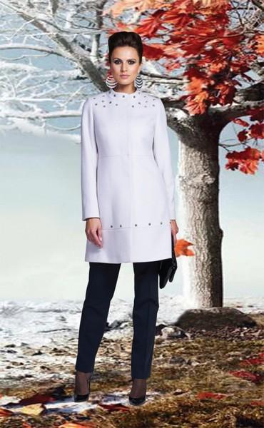 Светло-серое кашемировое демисезонное пальто с воротником-стойка KLARIS