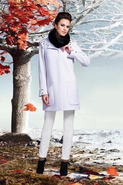 Светло-серое кашемировое пальто с капюшоном и отделкой клепками KLARIS
