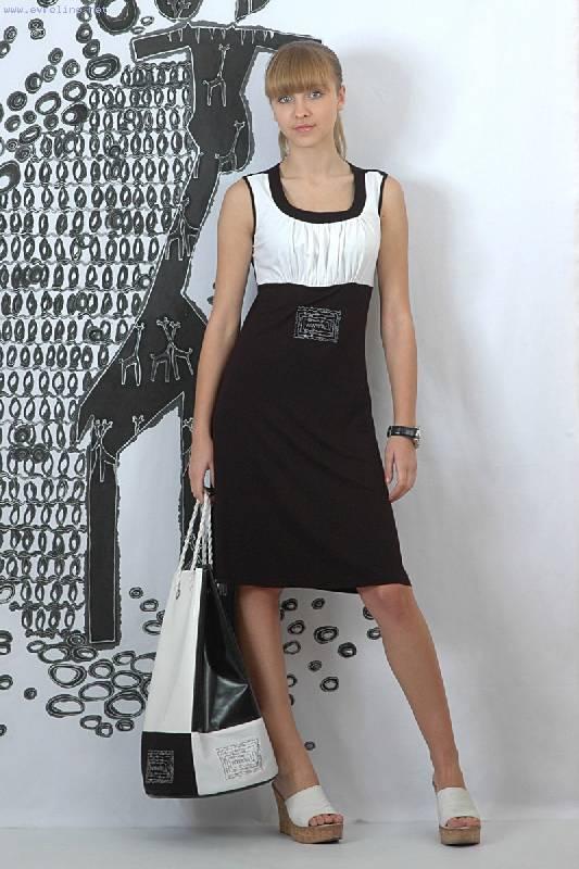Офисное летнее платье Ин-Янь.