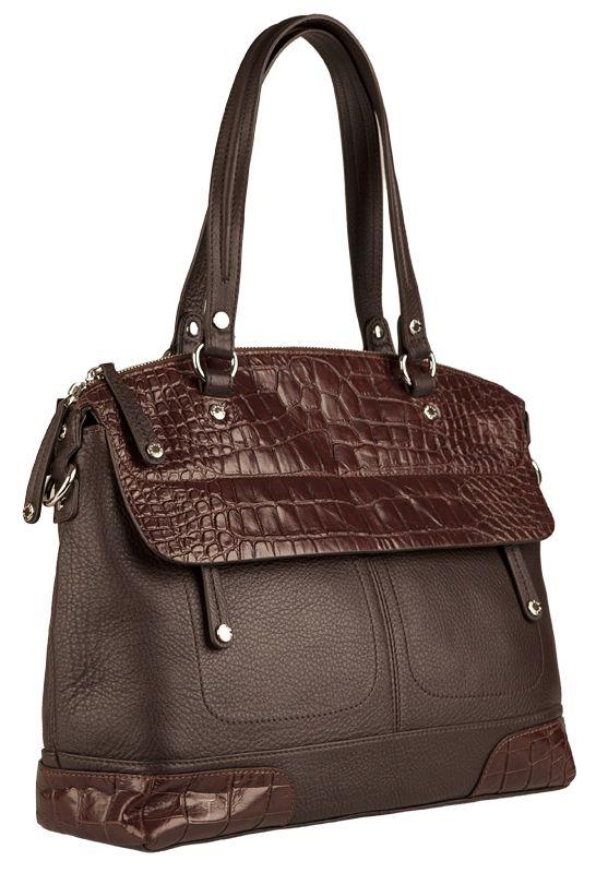 Женская сумка PALIO из натуральной кожи коричневого цвета.  Отделка - натуральная.