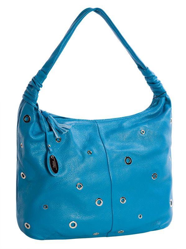 Женская сумка Palio выполнена из натуральной матовой кожи ярко-голубого...