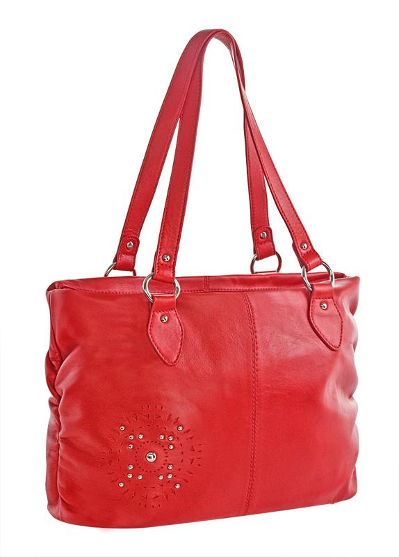 Женская сумка Palio выполнена из натуральной кожи красного цвета.