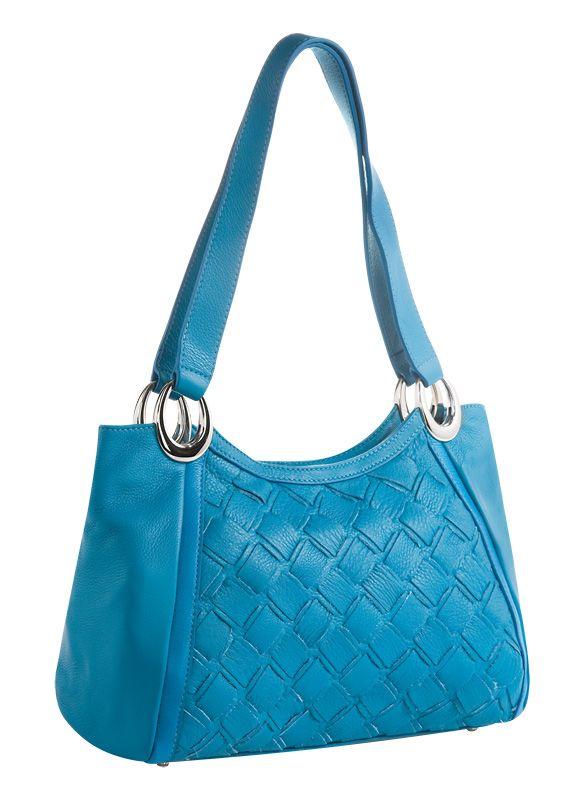Женская сумка Palio выполнена из натуральной матовой кожи голубого цвета.