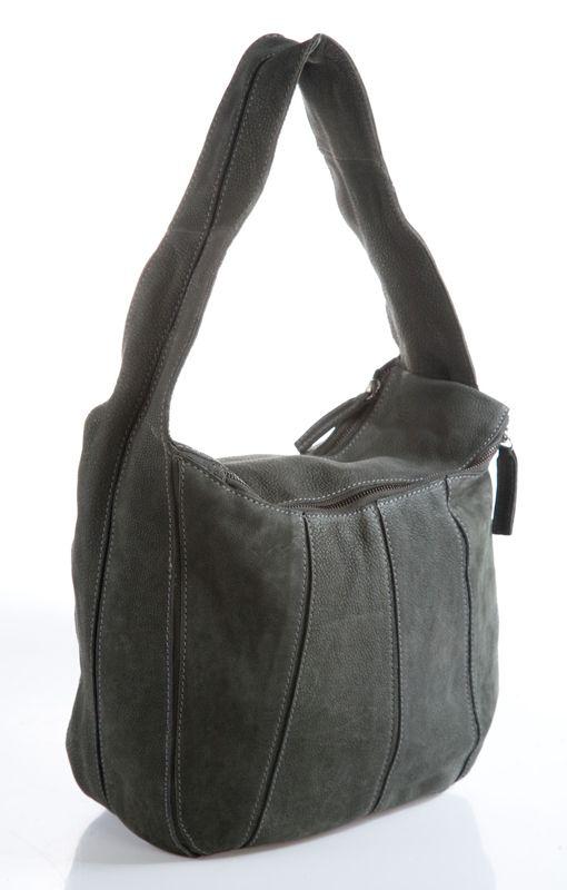 Женская сумка AND выполнена из натурального нубука темно-зеленого цвета.