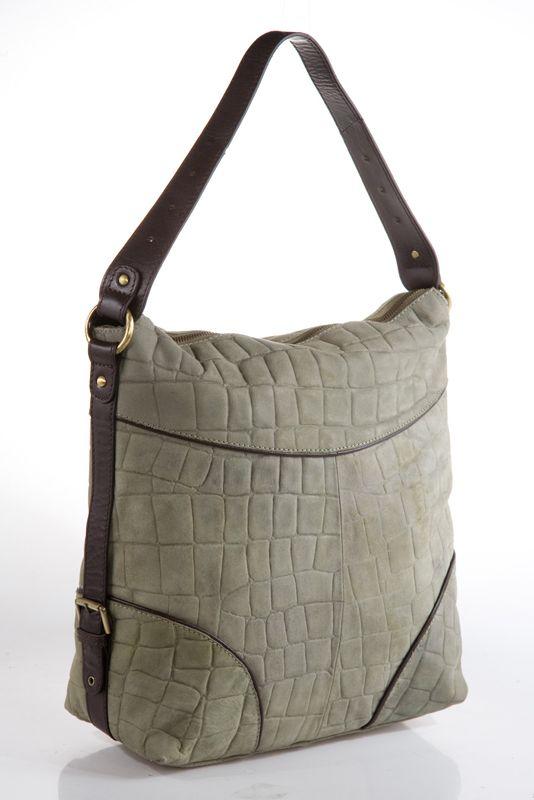 Женская сумка AND выполнена из натурального нубука зелено-серого цвета с...