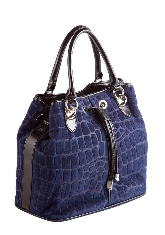 Женская сумка ELEGANZZA выполнена из натуральной замши синего цвета с...