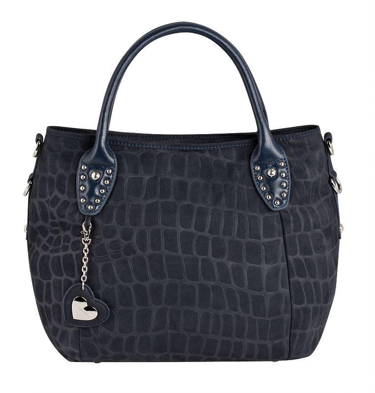 Женская сумка ELEGANZZA выполнена из натуральной замши темно-синего...