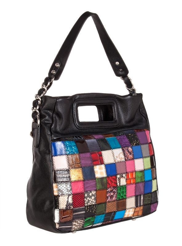 Женская сумка ELEGANZZA выполнена из натуральной кожи черного цвета.