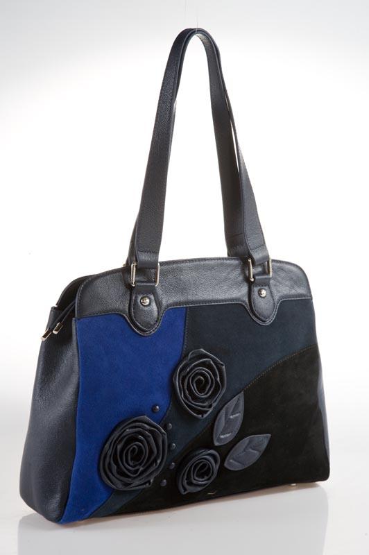 Женская сумка ELEGANZZA выполнена из натуральной кожи темно-синего цвета.