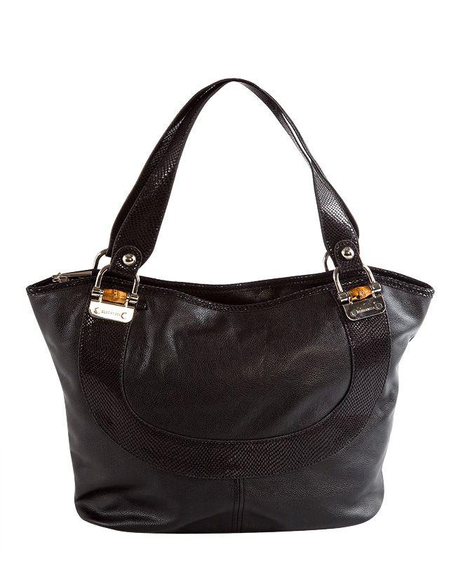 Кожаная сумка Eleganzza Z20 - 9273, черный, 32х12х26 Женская сумка ELEGANZZA выполнена из натурально.