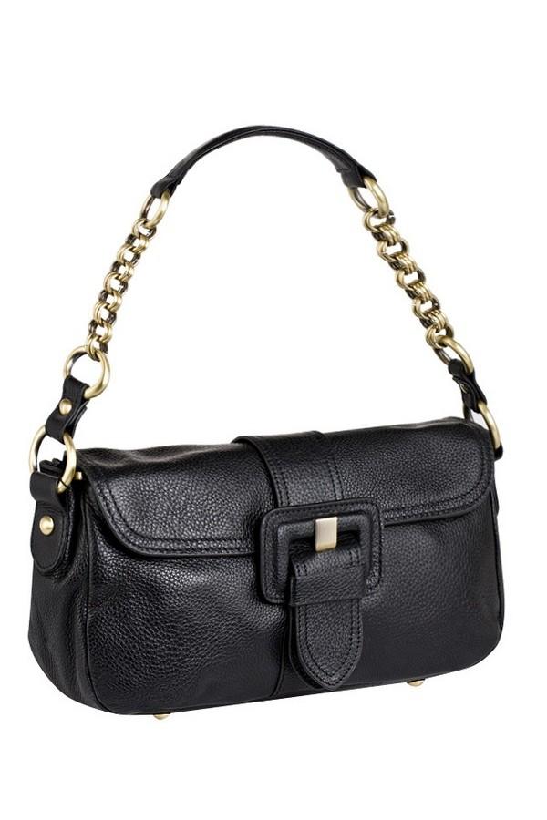 Женская сумка AND выполнена из натуральной матовой кожи черного цвета.