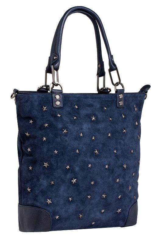 Женская сумка PALIO из натуральной замши синего цвета.