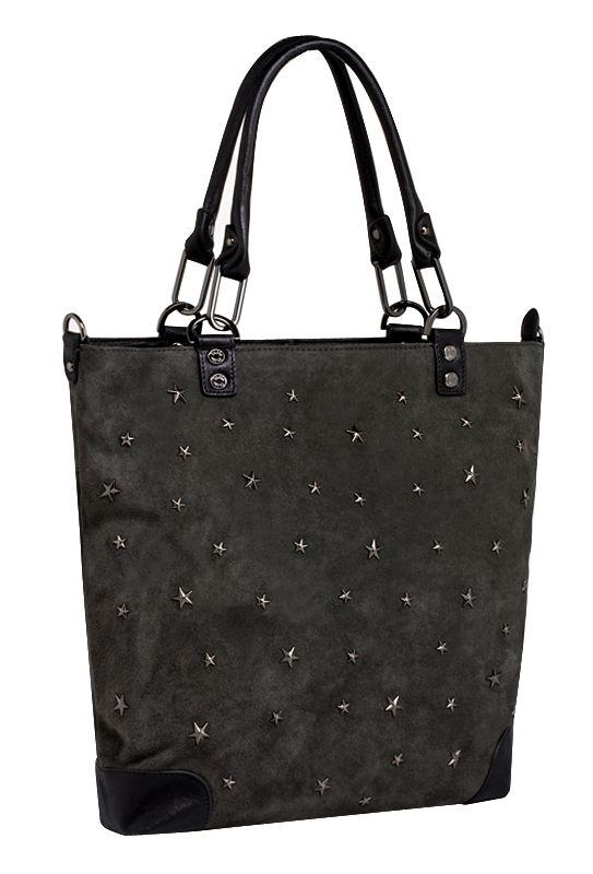 Женская сумка PALIO из натуральной замши серого цвета.