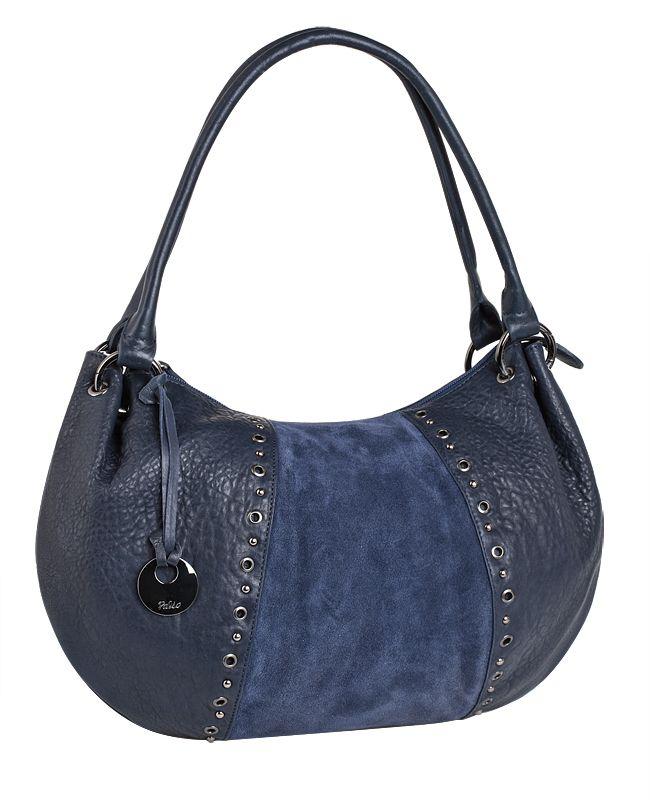 Женская сумка Palio выполнена из натуральной кожи синего цвета, отделка...
