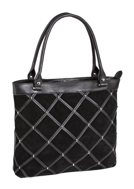 Женская сумка PALIO из натуральной замши черного цвета(передняя стенка...