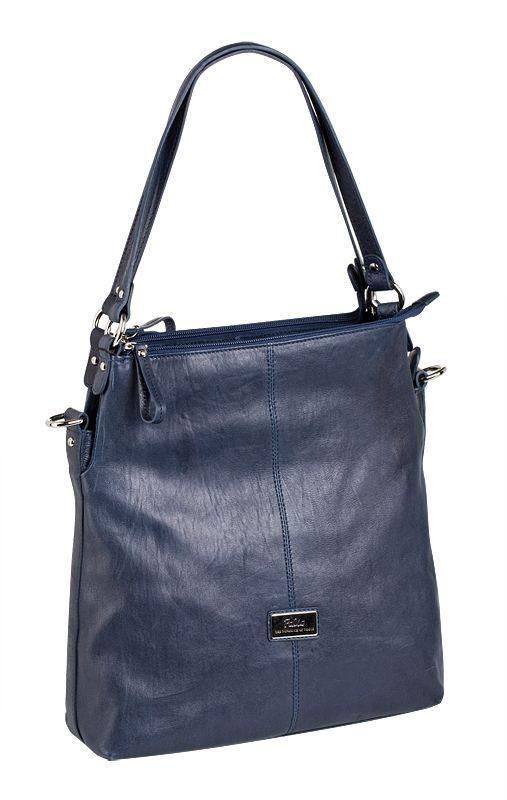Женская сумка Palio выполнена из натуральной кожи темно-синего цвета.