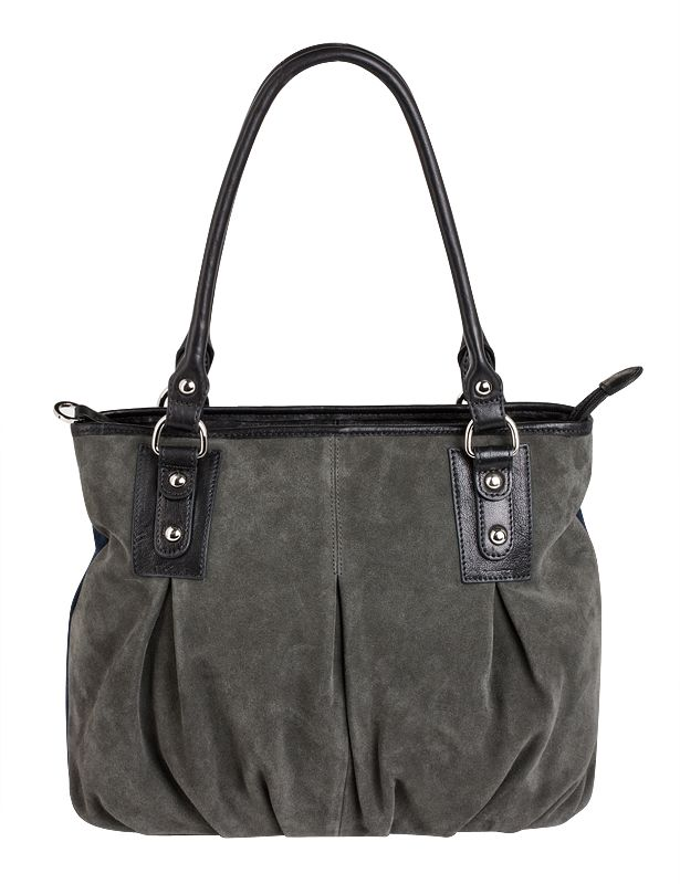 Женская сумка PALIO из натуральной замши темно-серого цвета (на передней...
