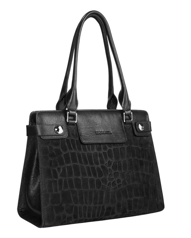 Женская сумка ELEGANZZA выполнена из матовой кожи черного цвета.