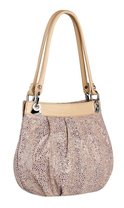Женская сумка ELEGANZZA выполнена из натуральной кожи бежевого цвета, с...