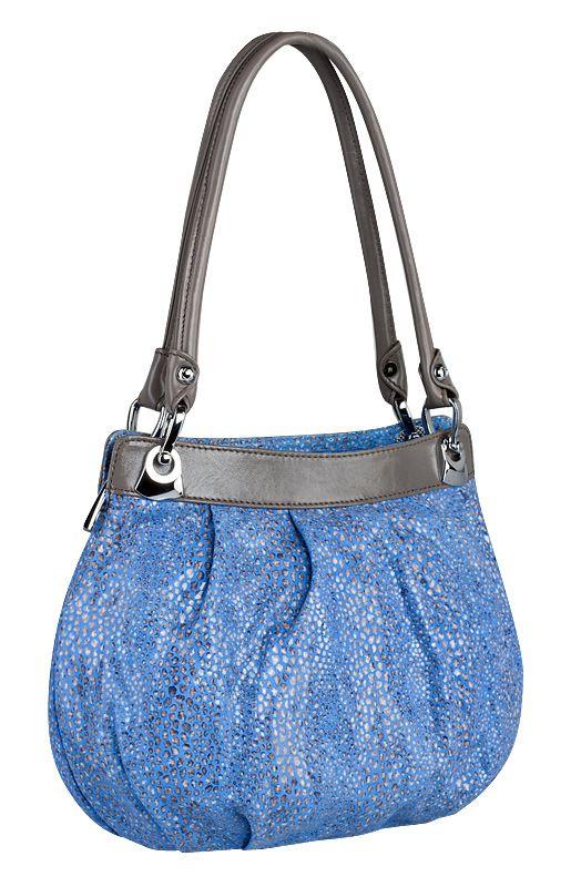 Женская сумка ELEGANZZA выполнена из натуральной кожи синего цвета, с...