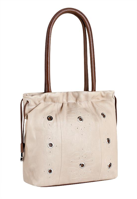 Женская сумка ELEGANZZA изготовлена из натуральной кожи цвета слоновая...