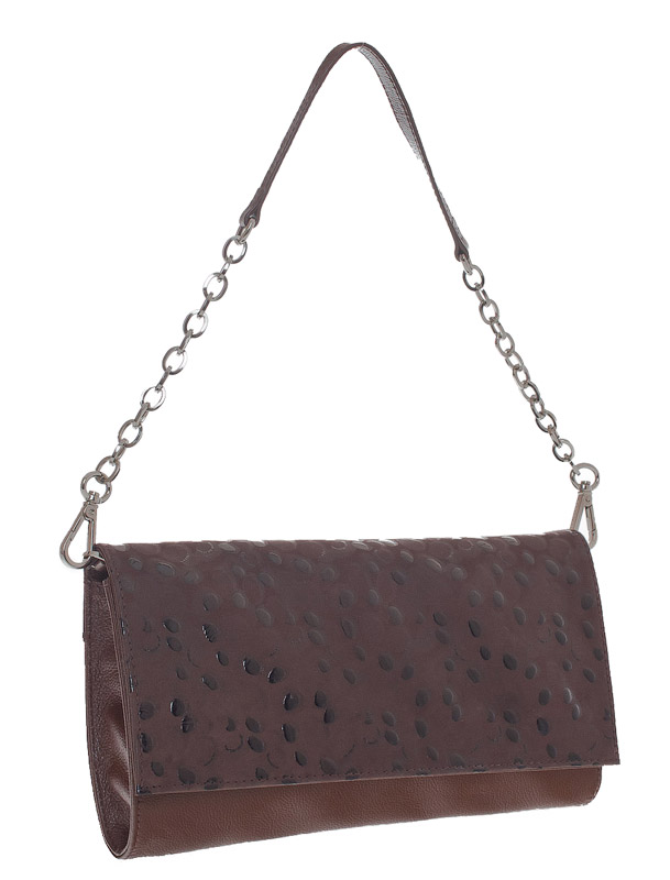 Женская сумка - клатч Eleganzza из натуральной кожи коричневого цвета.