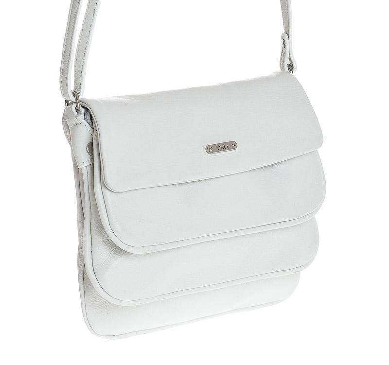 Женская сумка Palio выполнена из натуральной матовой кожи белого цвета.