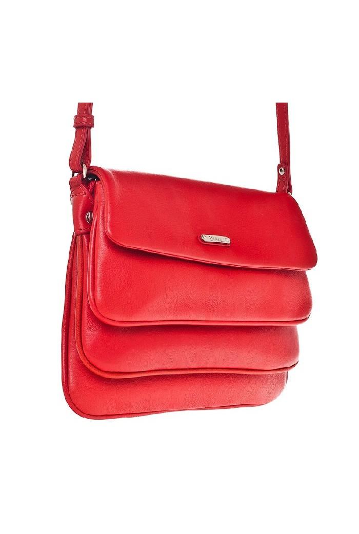 Женская сумка Palio выполнена из натуральной матовой кожи красного цвета.