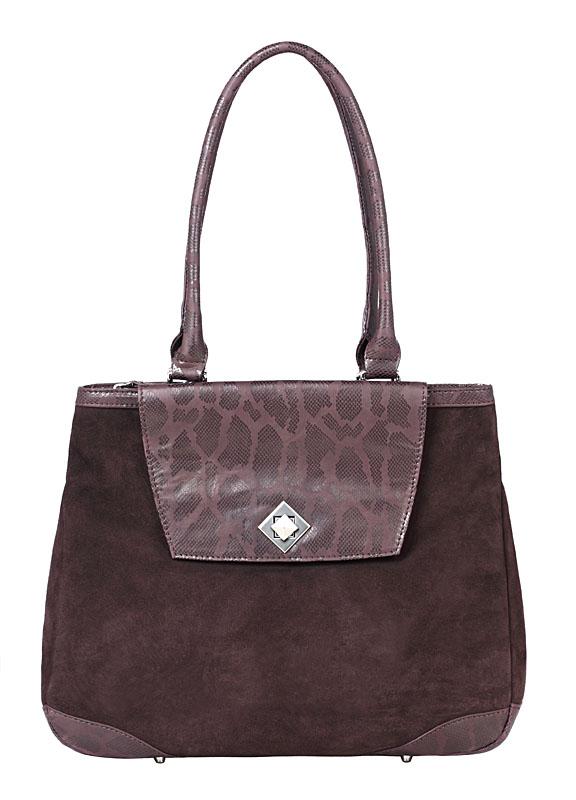 Женская сумка ELEGANZZA выполнена из натурального велюра коричневого...