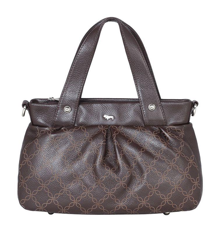 Женская сумка Labbra выполнена из натуральной кожи темно-коричневого цвета с тиснением под оленя.