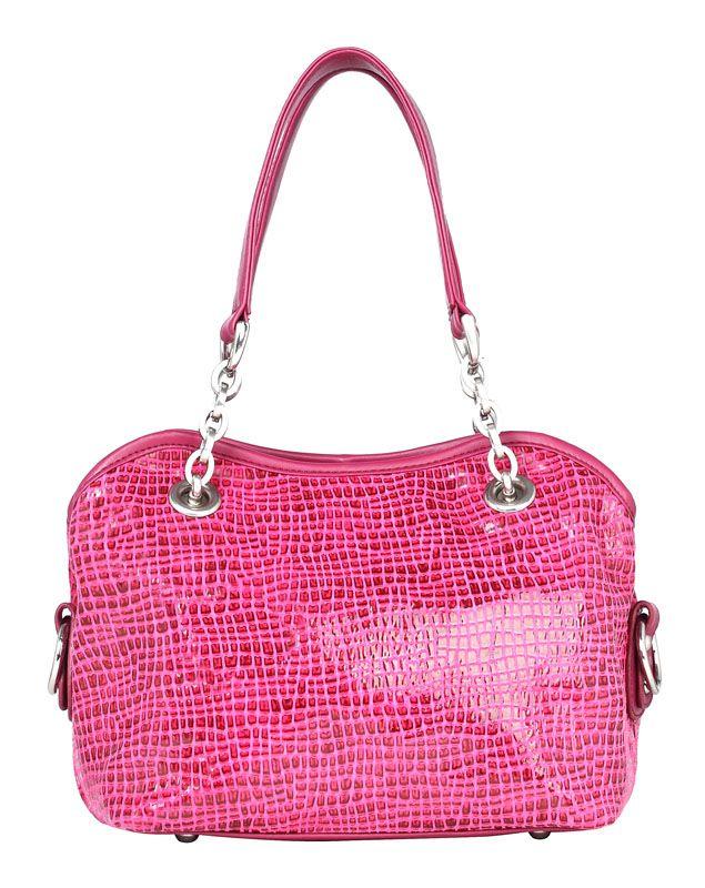 Женская сумка Labbra выполнена из натуральной лазерной кожи цвета фуксия.