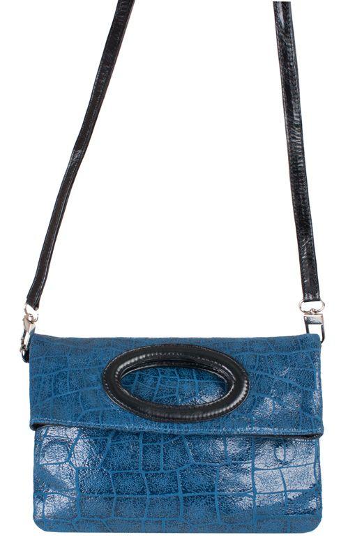 Женская сумка Labbra выполнена из натуральной кожи под рептилию синего цвета.