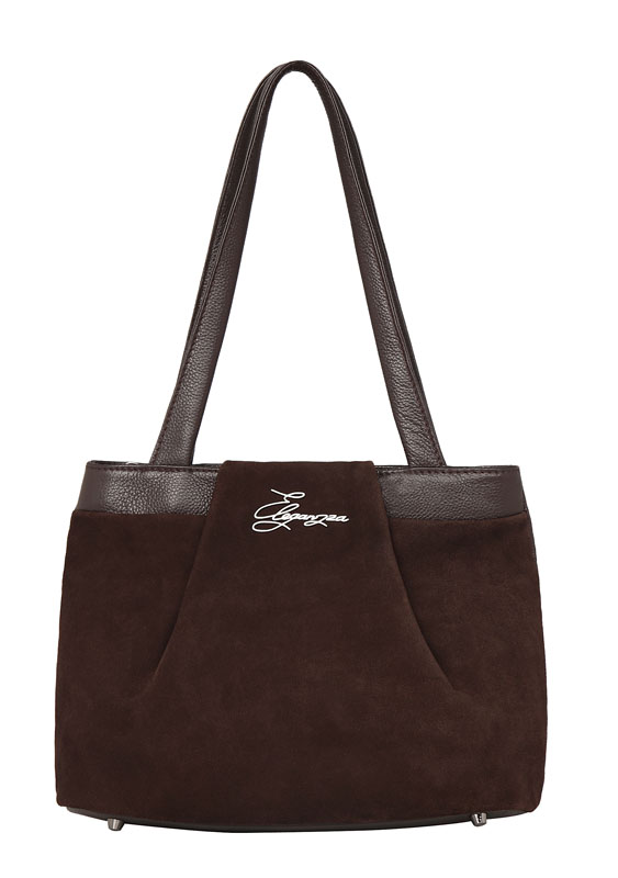 Женская сумка ELEGANZZA выполнена из натуральной кожи коричневого цвета.