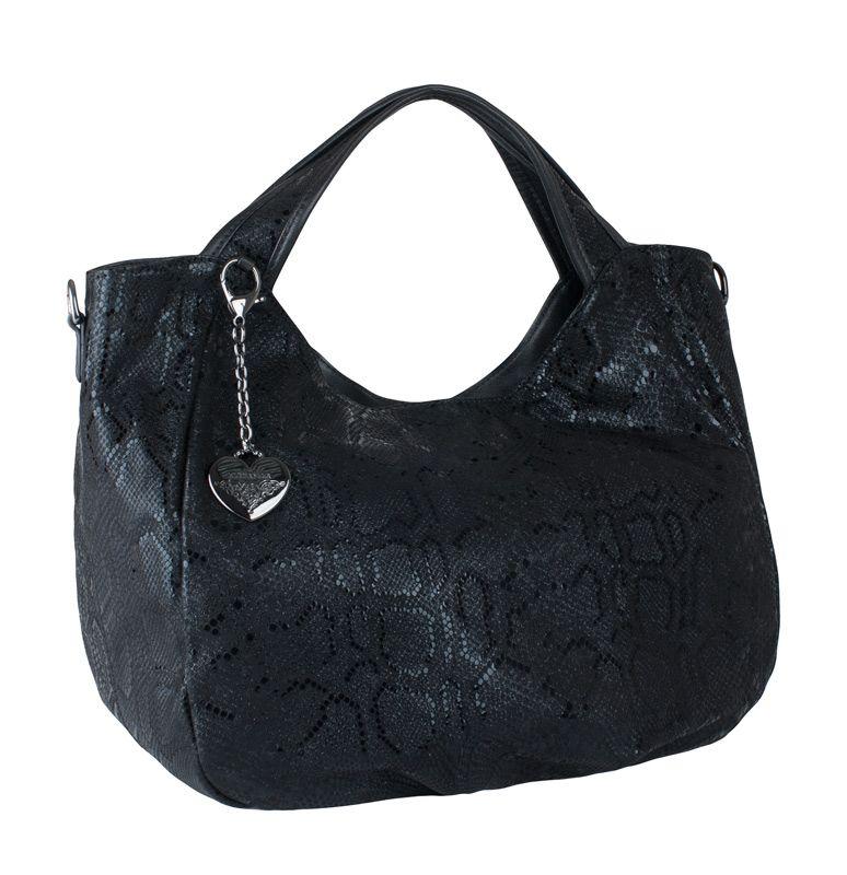 Женская сумка Eleganzza из натуральной лазерной кожи черного цвета.