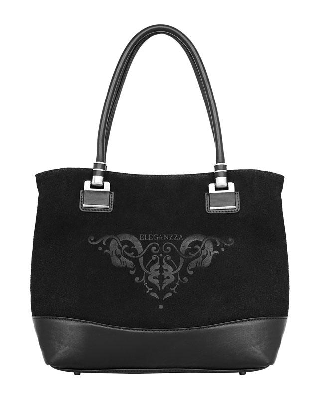 Женская сумка торговой марки Eleganzza выполнена из натурального велюра коричневого цвета. .