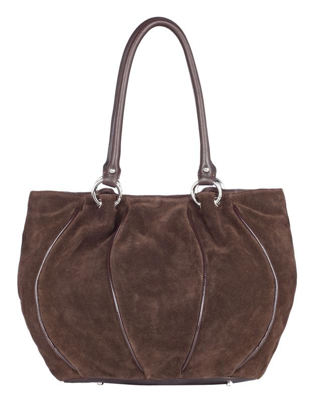 Женская сумка Palio выполнена из натурального велюра коричневого цвета с...