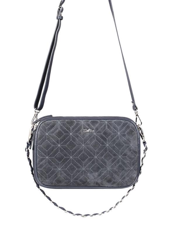 Женская сумка Palio выполнена из натурального велюра серого цвета.