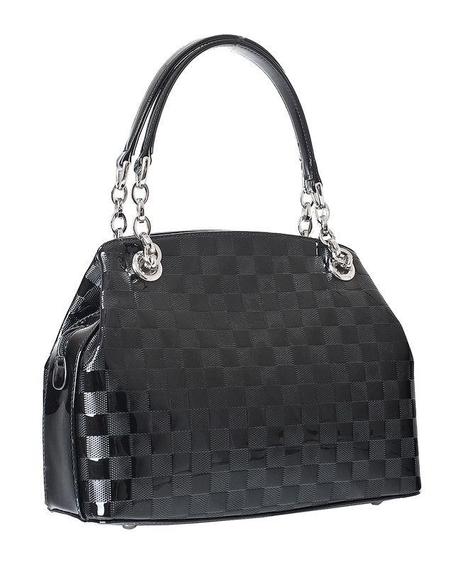 Женская сумка Labbra выполнена из натуральной лаковой кожи черного цвета...
