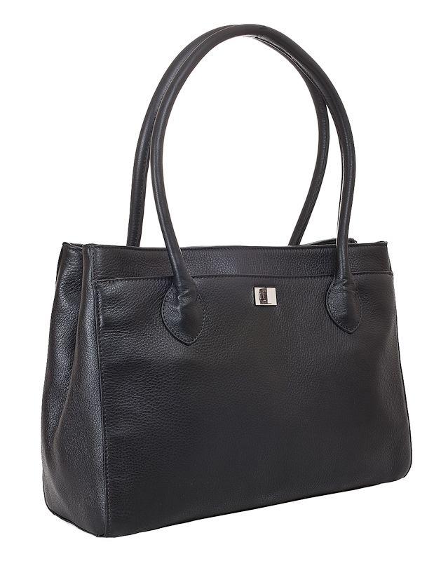 Женская сумка Palio выполнена из натуральной кожи черного цвета.  Имеет удобный кармашек на молнии на задней стенке.