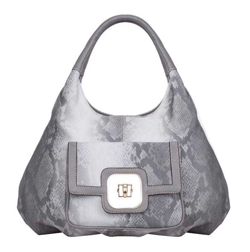 Женская сумка FELICITA выполнена из искусственной кожи серого цвета с тиснением под питон.